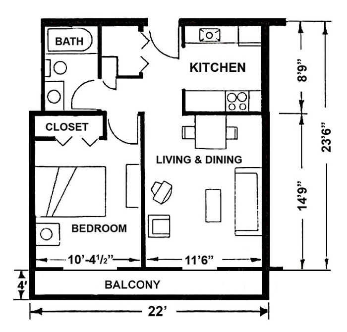 Enchanting 25 one bedroom apartment layout design for Apartment design layout