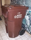 image of brown 96 gallon recycling cart