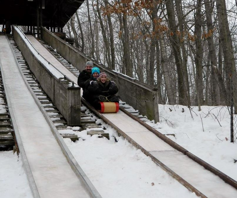 Adults Tobogganing