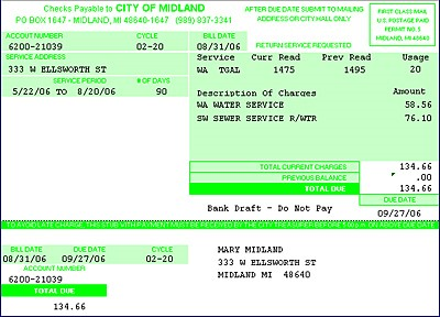 example Midland Water Bill