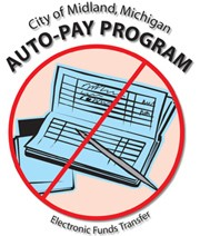 The logo for Midland's Auto Pay Program with a checkbook crossed out