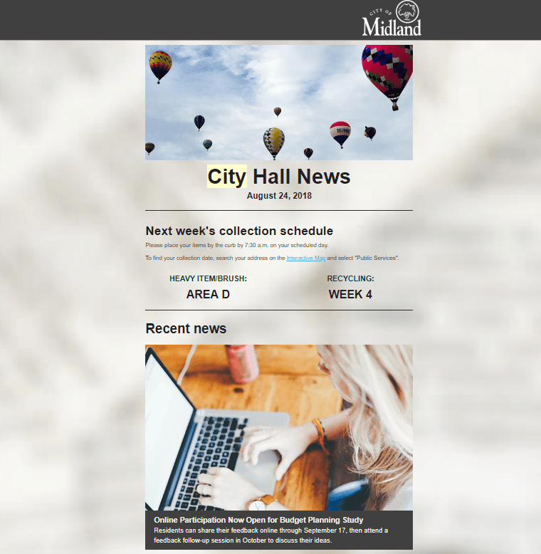 A sample of the City Hall News