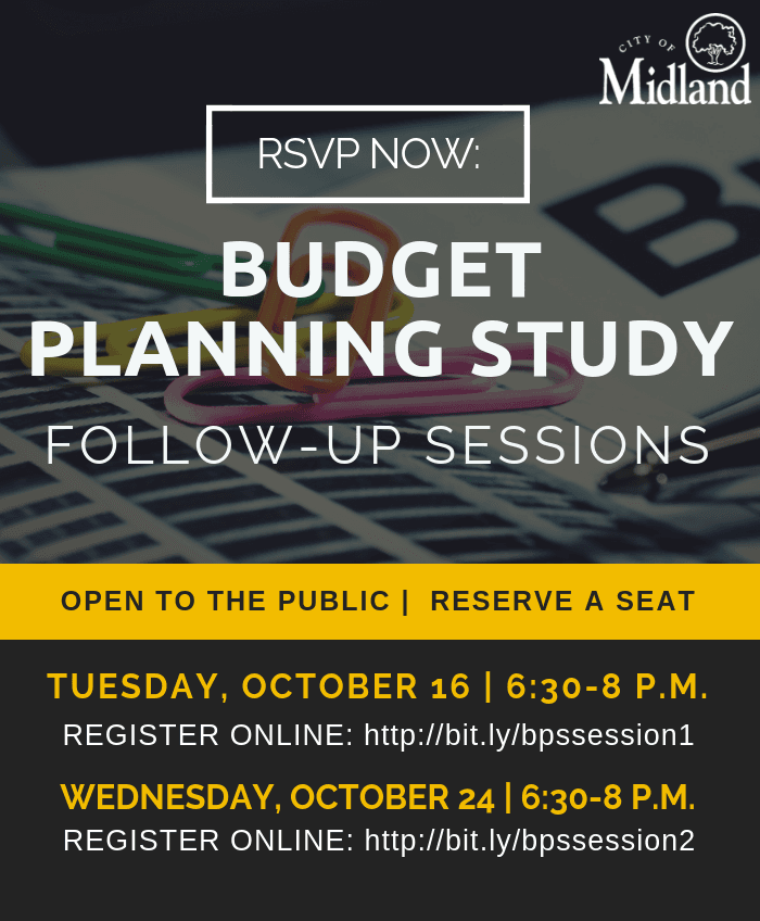 Ad announcing follow-up sessions for the Budget Planning Study