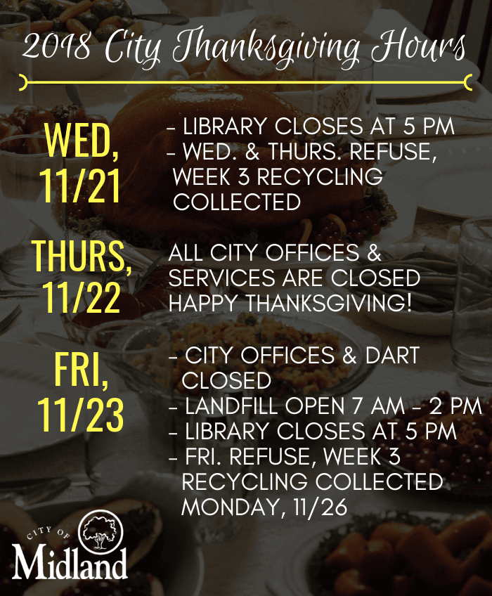 City Thanksgiving 2018 schedule