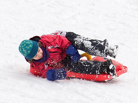 A young boy tips over on a red sled into the snow