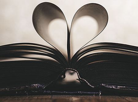 A book with a heart made from 2 pages