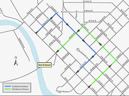 A map detailing the detour routes during the Main Street intersection closure at M-20