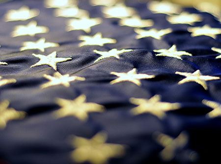 The blue and white stars of the US flag