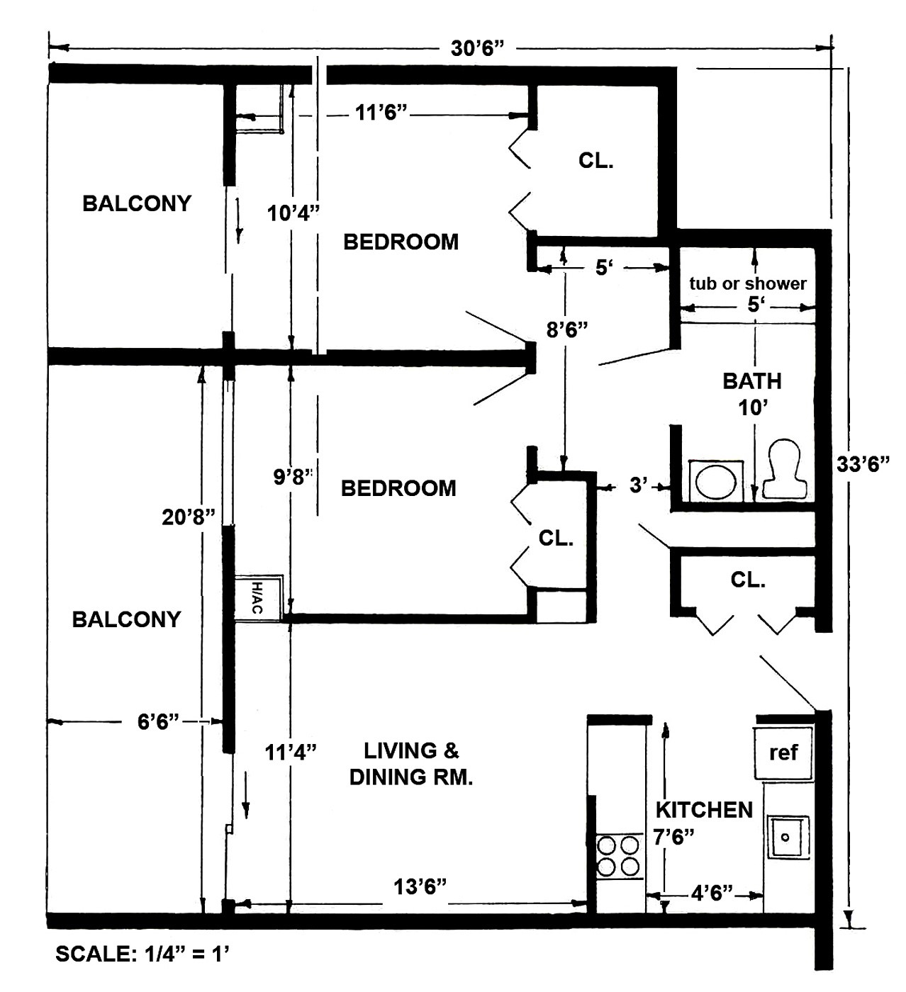2 Bedroom Layout Large