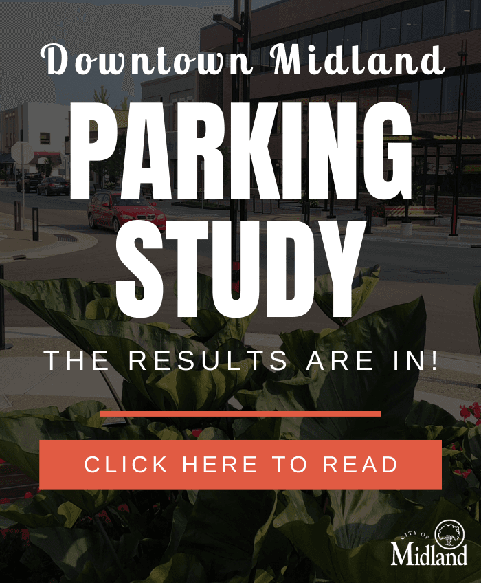 A graphic detailing the results of the 2019 Downtown Midland Parking study