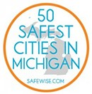Logo for SafeWise's 50 Safest Cities in Michigan program.