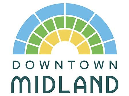 Downtown Midland in blue font with yellow, green, and blue arches above it