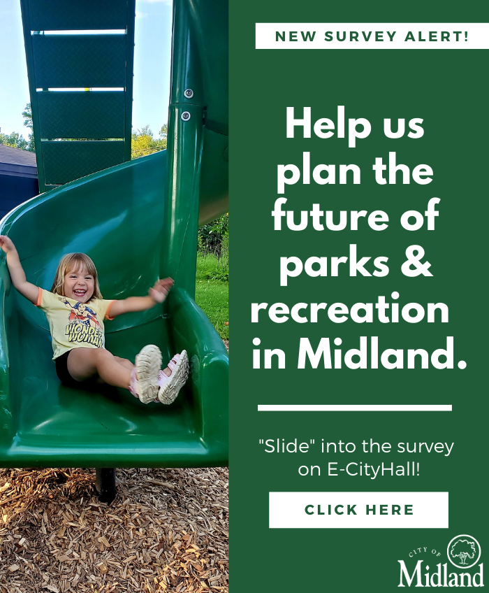A little girl in a yellow shirt goes down a green slide. Click this image to go to a survey.