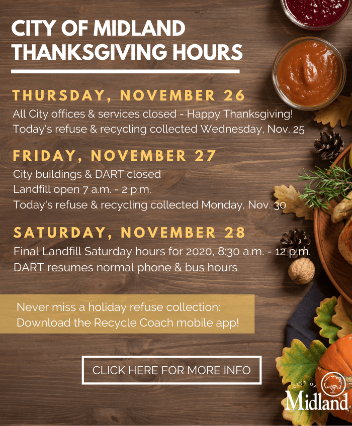 A list of the 2020 City Thanksgiving hours