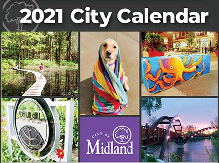 A cover of the 2021 City Calendar with photos of a dog, a bridge, flowers, and more