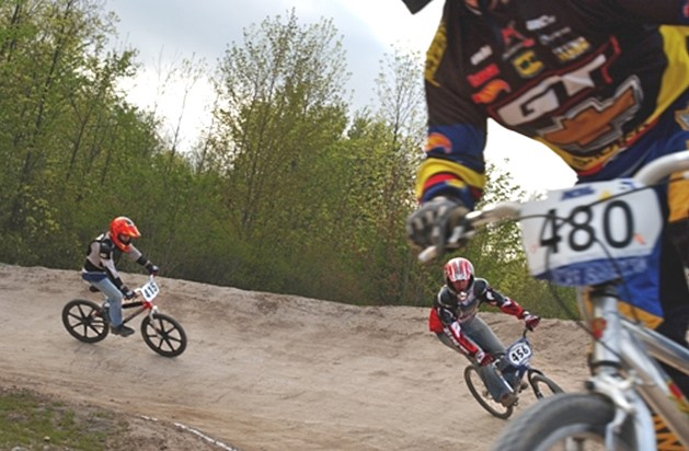 BMX racers on track