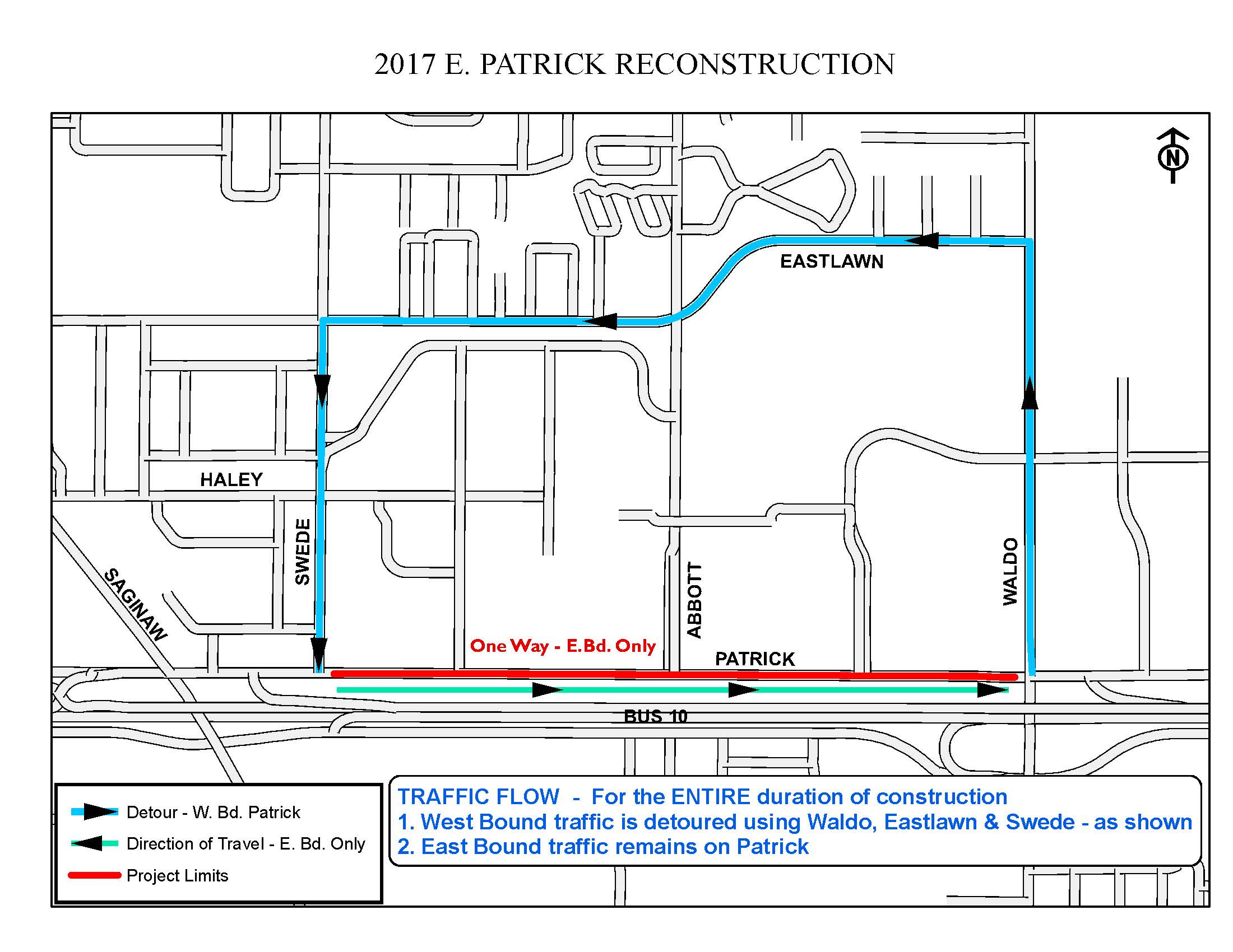 2017 Patrick Road ResurfacingTraffic Map shows the detour for westbound traffic.