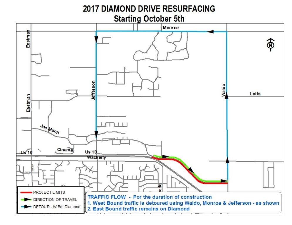 2017 Diamond Drive Resurfacing Location Map