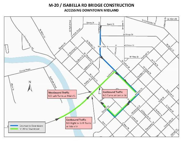 M-20 bridge construction route with detour to Downtown Midland