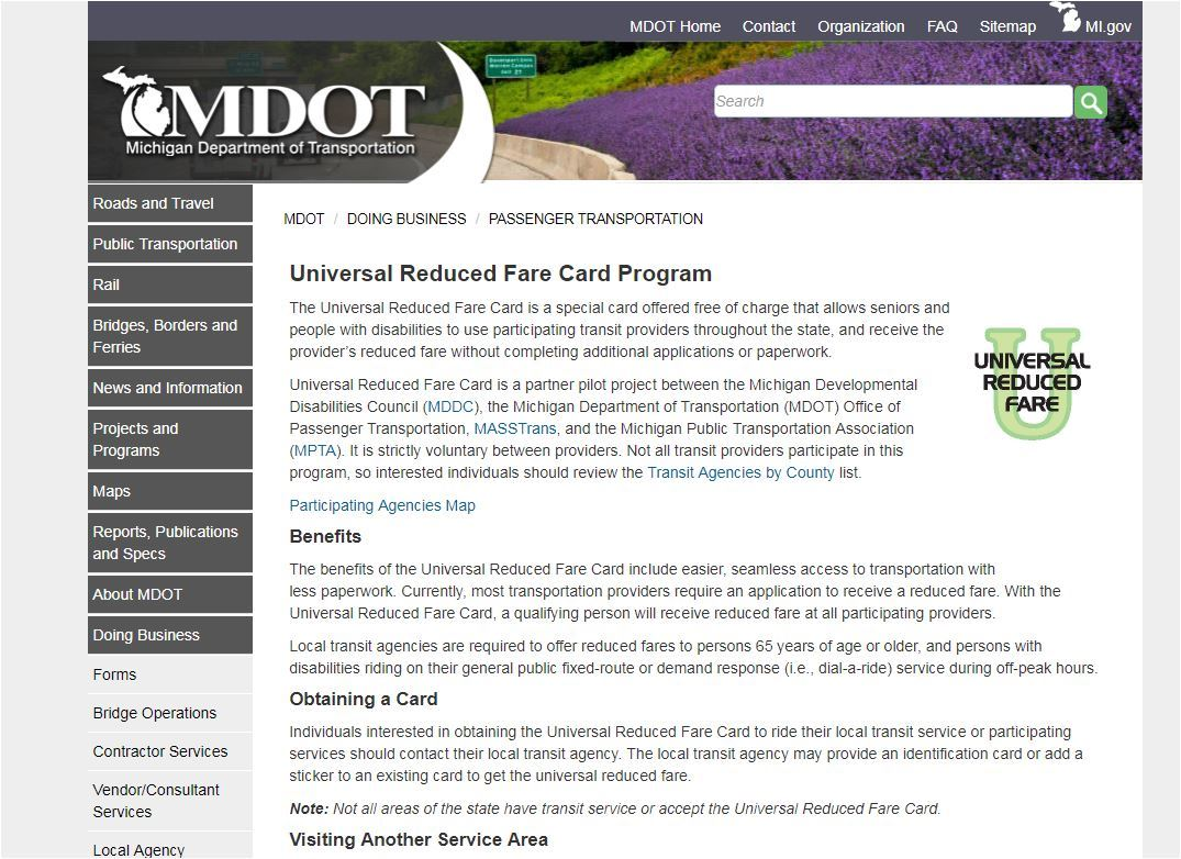 MDOT Universal Reduced Fare Card Page