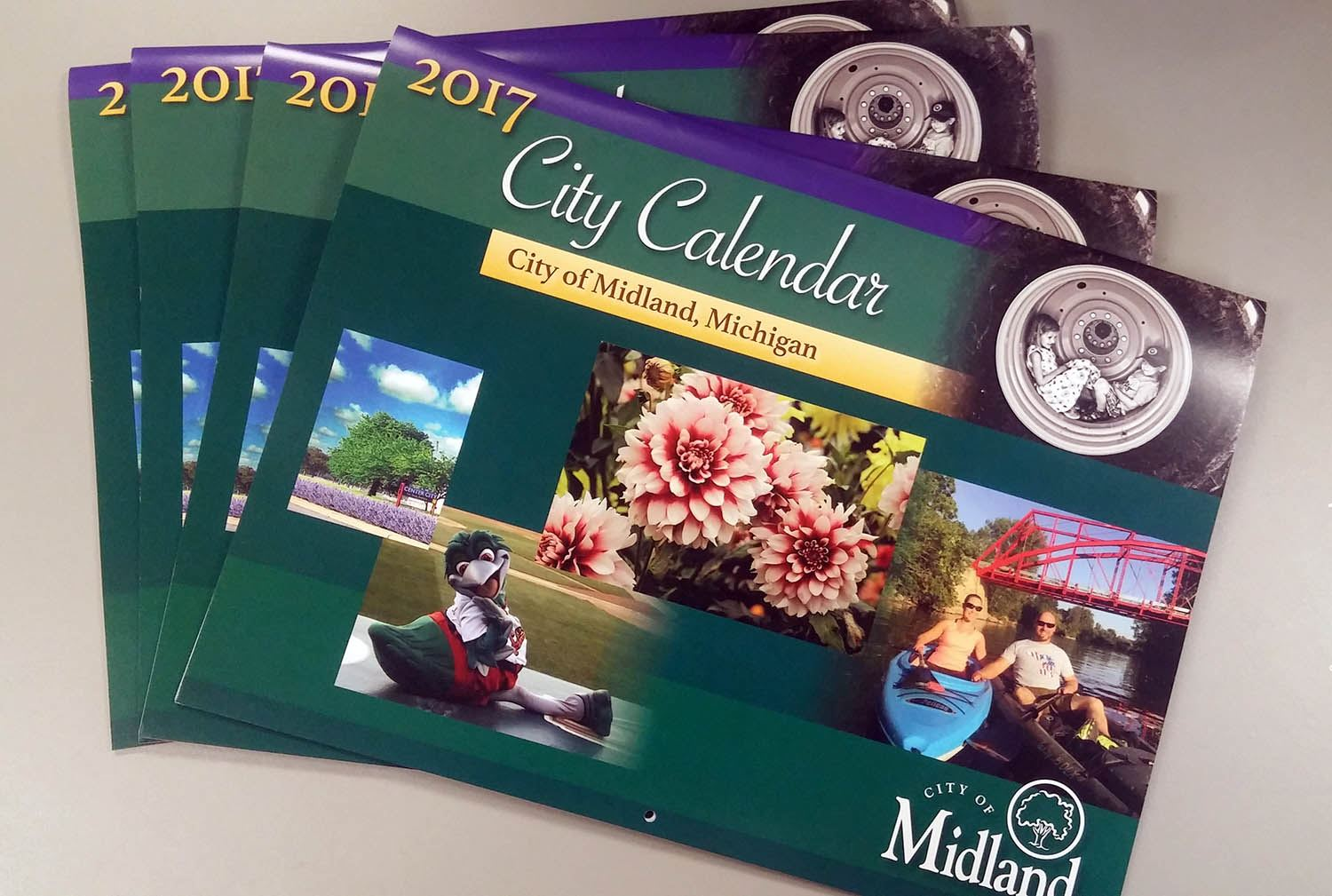 2017 City of Midland calendars in a stack