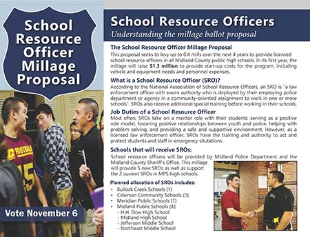 The first page of the School Resource Officer brochure  Opens in new window