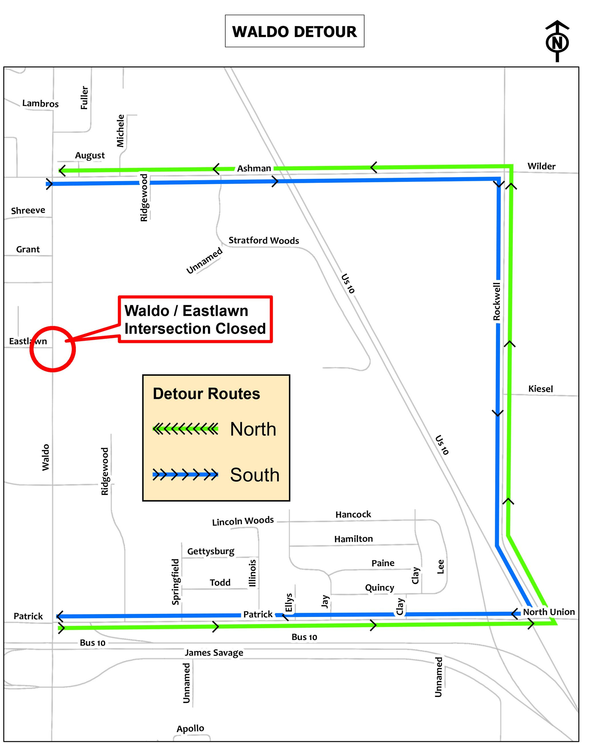 A detour route for Waldo at Eastlawn