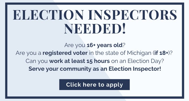 Election Inspectors needed for the 2020 Election