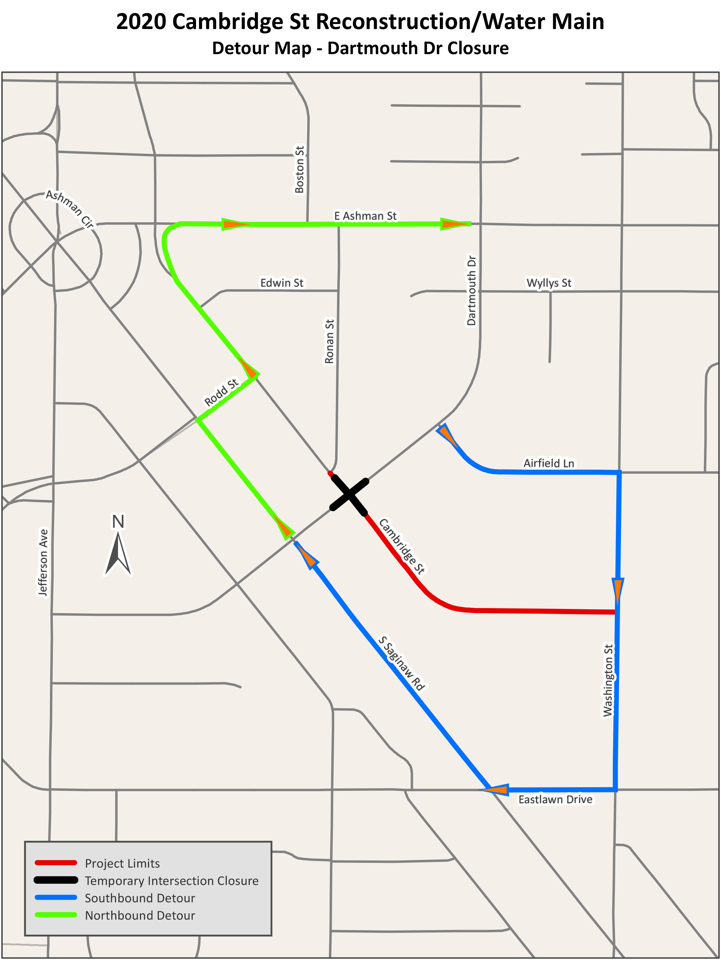 A map of a detour for Dartmouth Drive and Cambridge Street
