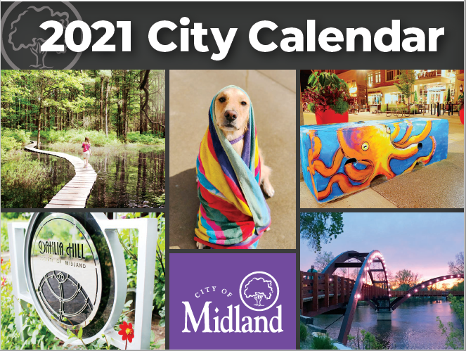 The 2021 City Calendar cover with photos of a dog, the Tridge, and more