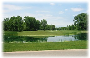 image of a par three over the pond, trees on both sides, and beautiful green grass