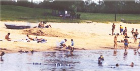 people playing and swimming at the beach