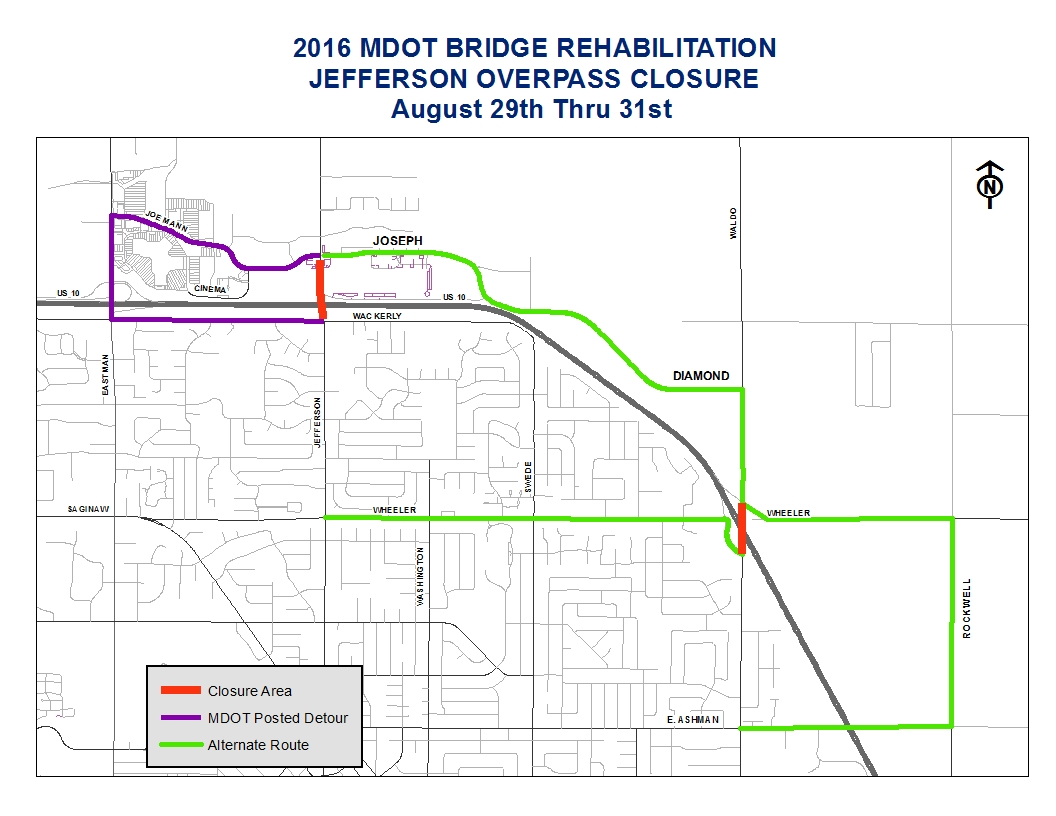Map of new detour for Jefferson Street overpass